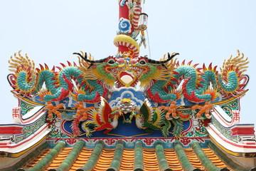 dragon statue on roof of joss house, Borabue, Mahasarakam