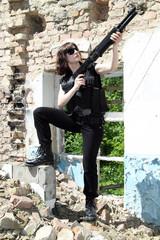 Girl with a shotgun