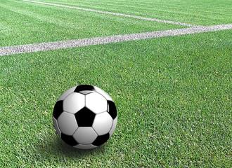 Pallone da calcio tradizionale a bordo campo