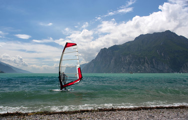 Windsurfing on a lake
