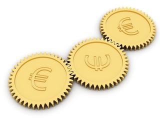 Golden euro gears on white