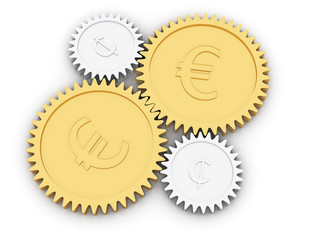 Golden euro and cent gears on white