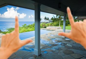 Hands Framing Breathtaking Hawaiian Ocean View Deck