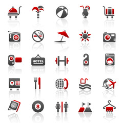 red holiday hotel icons - set 10