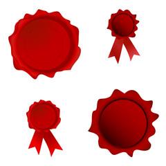 Red Set Seals. Vector Illustration