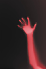 red hand on black