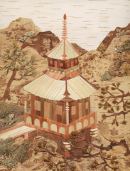The Japanese pagoda, application from birch bark and straws