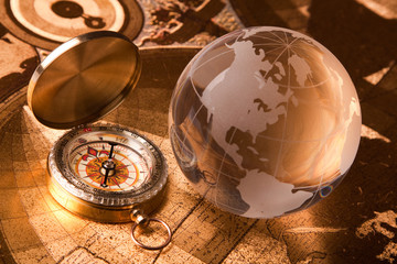 Old Compass and globe