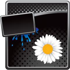 daisy flower black halftone template