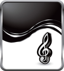 music notes black wave background