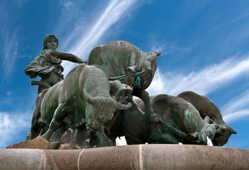 Fotobehang Wenen La fontaine Gefion à Copenhague au Danemark