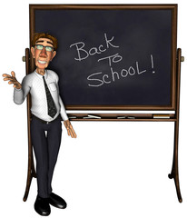 3d teacher back to school cartoon