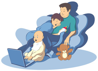 Tired toys sleep.Vector illustration family and new technologies