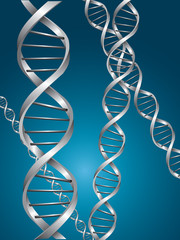 Silver dna spiral in a blue background