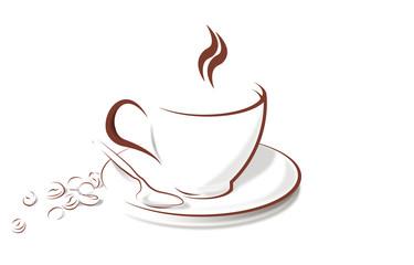 чашка кофе с зёрнами