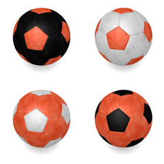 4 rendered orange soccer balls