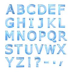 blue glass alphabet