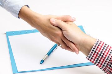 Deal. Handshake Men and Women