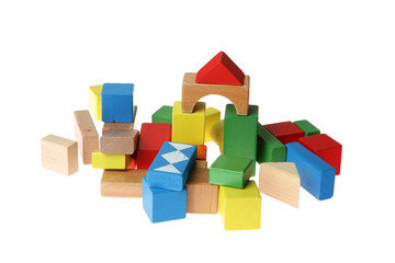 Wooden Building Blocks with white background