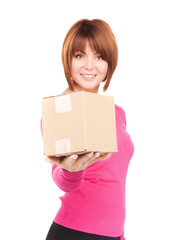 businesswoman with parcel