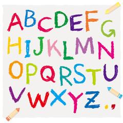 クレヨンで書いたアルファベット