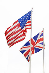 American and British flags, background