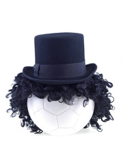 soccer ball face with black hair isolated on white background