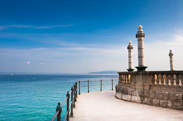 Adriatic Sea scenic view from quay of Opatija, Croatian coast.