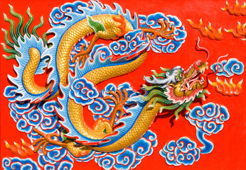 The nice dragon wall in chinese temple