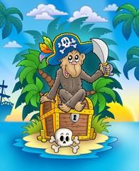 Papiers peints Pirates Pirate monkey on treasure island