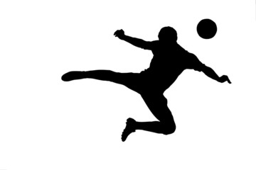 A silhouette of a soccer player with a ball isolated on white