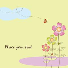 Springtime flora card with ladybird
