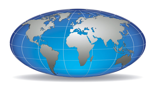 Globe earth with detailed silver world map placed in layers