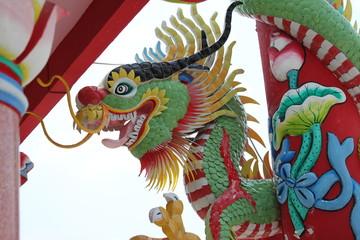 dragon head in joss house, Borabue, Mahasarakam