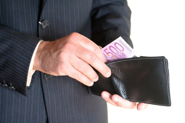 Businessman hand holding a opened  wallet