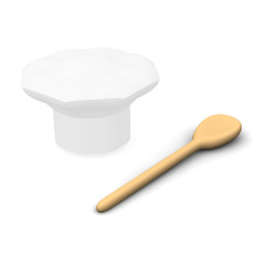 Cook cap and spoon. 3d rendered illustration.