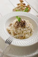 mushroom rice over dish -risotto con funghi