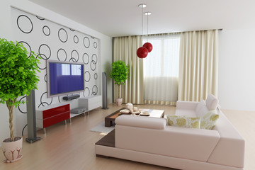 3d render modern living room