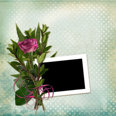 Frame with bouquet on old grunge background