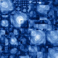 Abstract Cubist Fractal Blue Background
