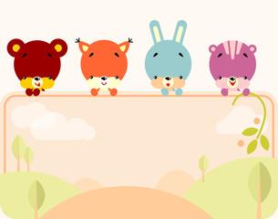 Cute animals banner