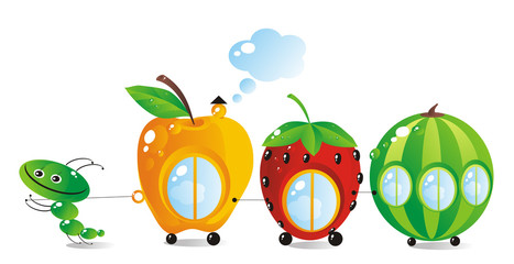 The child-caterpillar pulls a fruit-berry