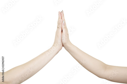 two hands making hi five gesture stock photo and royalty free