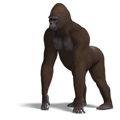 gorilla on all fours. 3D rendering with clipping path and shadow
