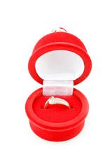 gold ring in velvet box (isolated on the white)