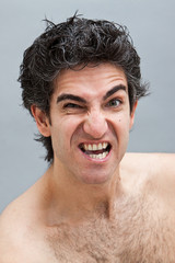 Angry young male portrait