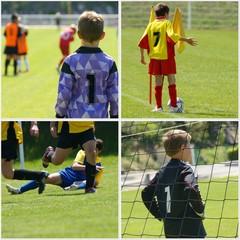 collage - jeunes joueurs de football
