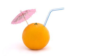 orange with straw and umbrella over white