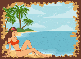 Beautiful girl on a summer beach. Vector illustration