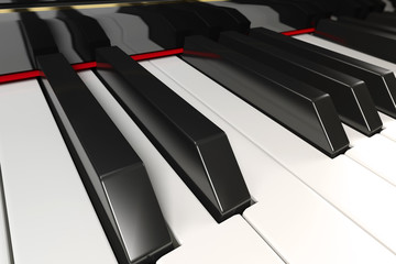 Close-up of a piano keyboard with shallow depth of field